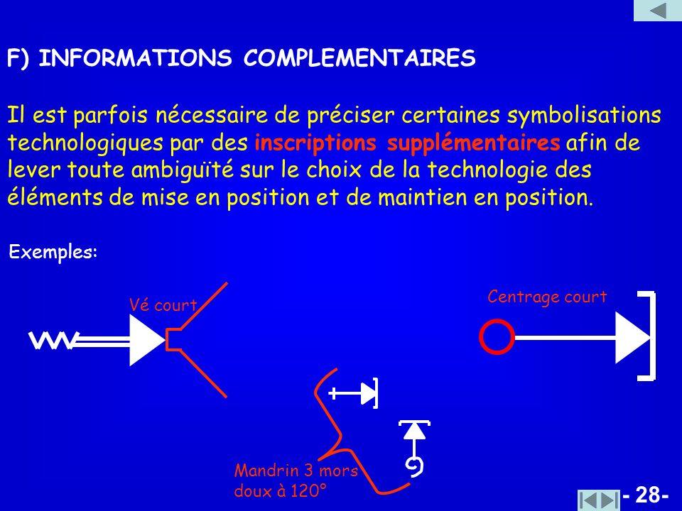 - 28- F) INFORMATIONS COMPLEMENTAIRES Il est parfois nécessaire de préciser certaines symbolisations technologiques par des inscriptions supplémentair