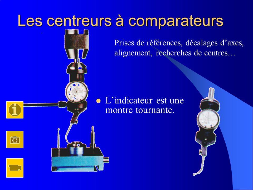 Lindicateur est une montre tournante. Les centreurs à comparateurs Prises de références, décalages daxes, alignement, recherches de centres…