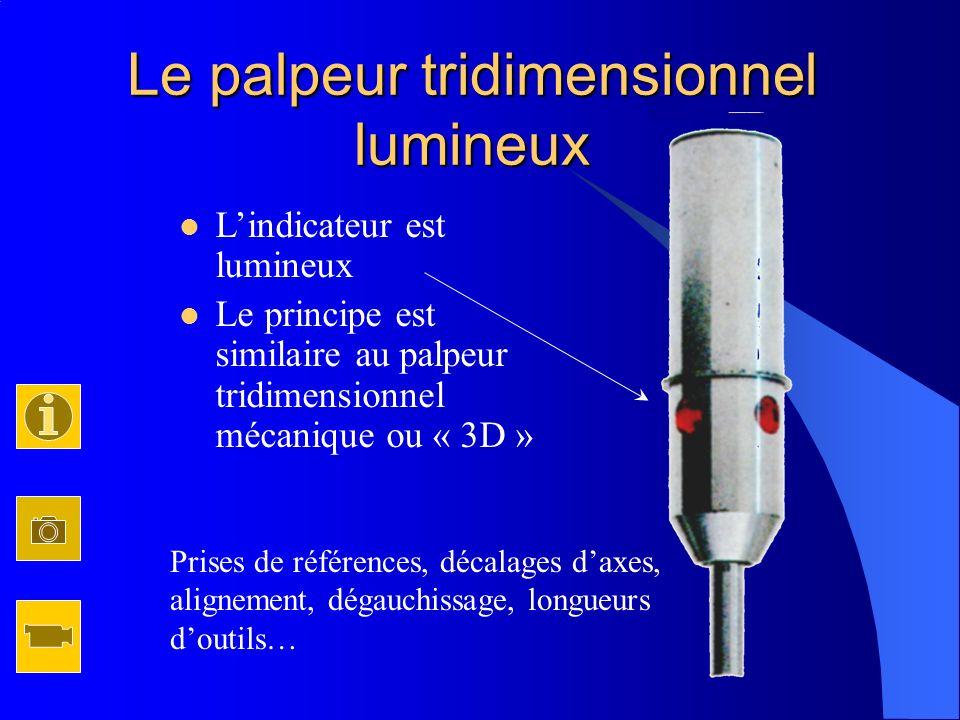 Le palpeur tridimensionnel lumineux Lindicateur est lumineux Le principe est similaire au palpeur tridimensionnel mécanique ou « 3D » Prises de référe