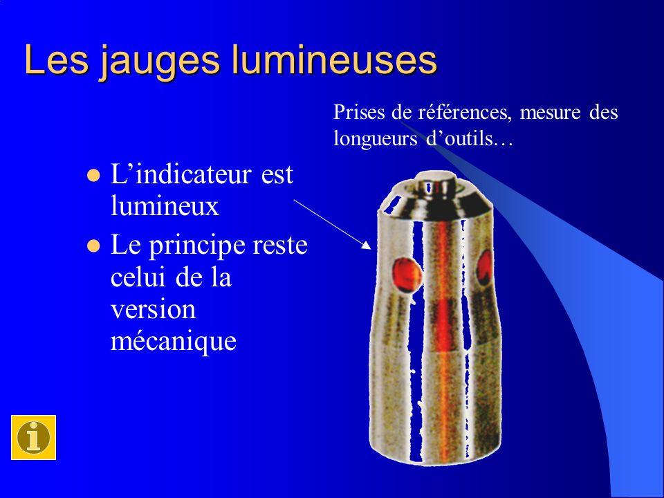 Les jauges lumineuses Lindicateur est lumineux Le principe reste celui de la version mécanique Prises de références, mesure des longueurs doutils…