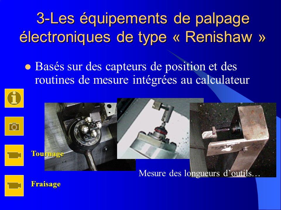 3-Les équipements de palpage électroniques de type « Renishaw » Basés sur des capteurs de position et des routines de mesure intégrées au calculateur