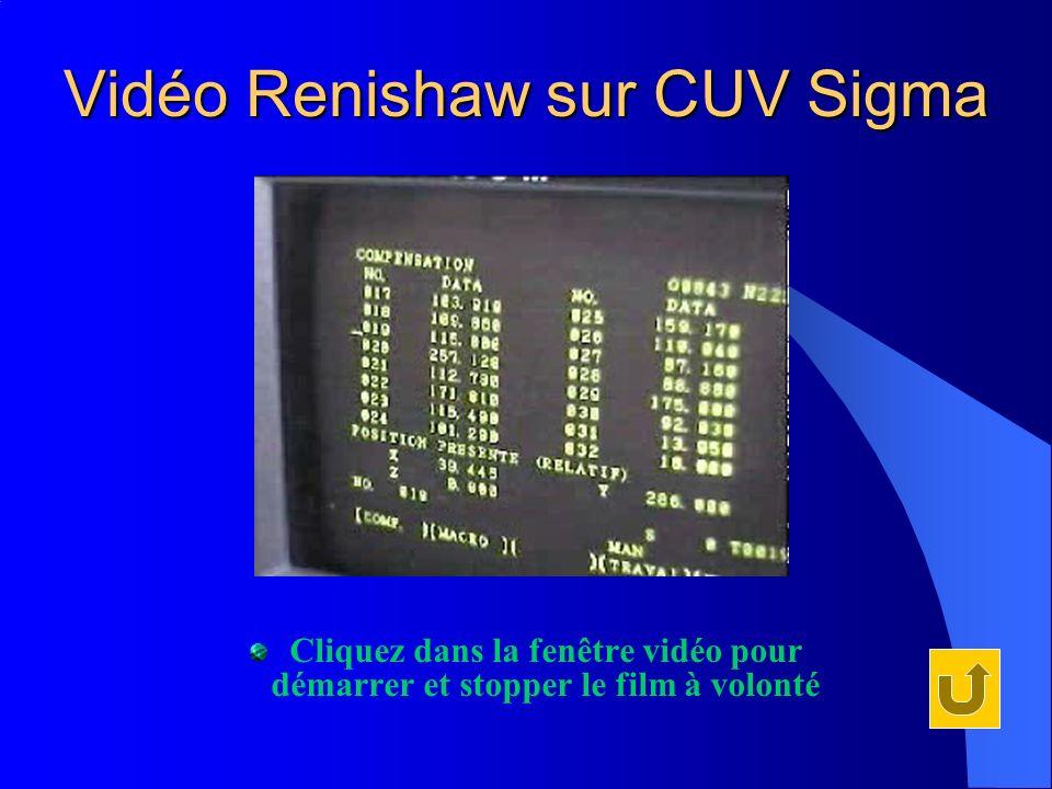 Vidéo Renishaw sur CUV Sigma Cliquez dans la fenêtre vidéo pour démarrer et stopper le film à volonté