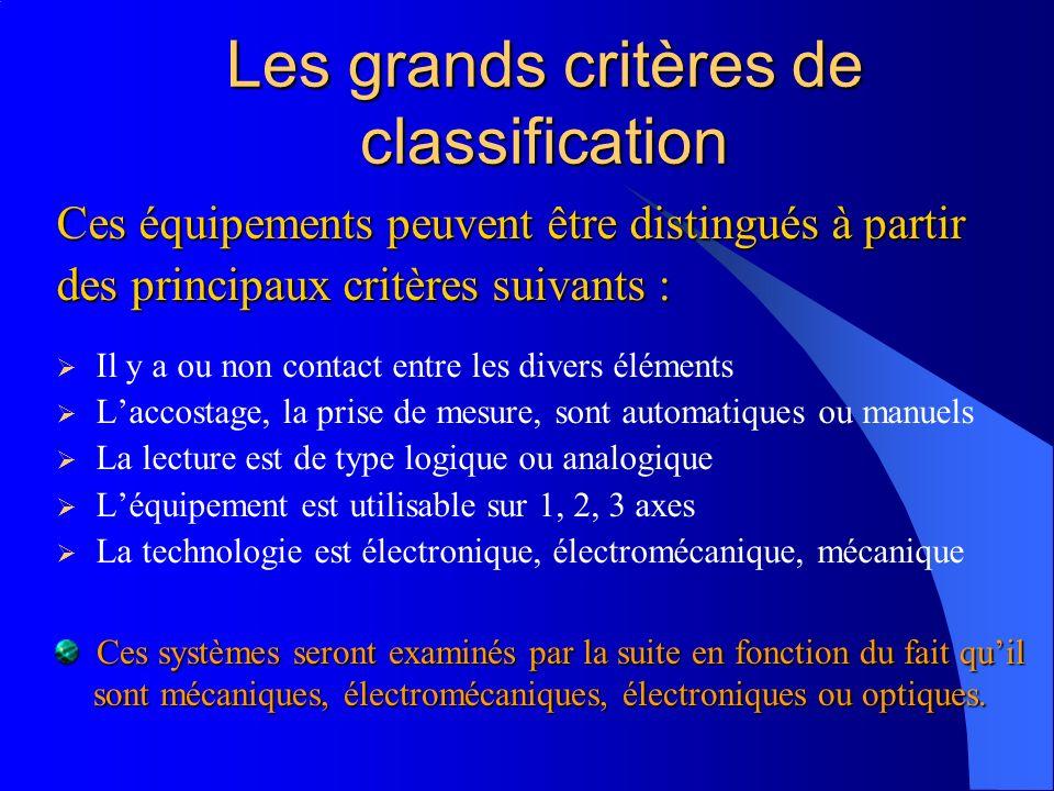 Les grands critères de classification Ces équipements peuvent être distingués à partir des principaux critères suivants : Il y a ou non contact entre