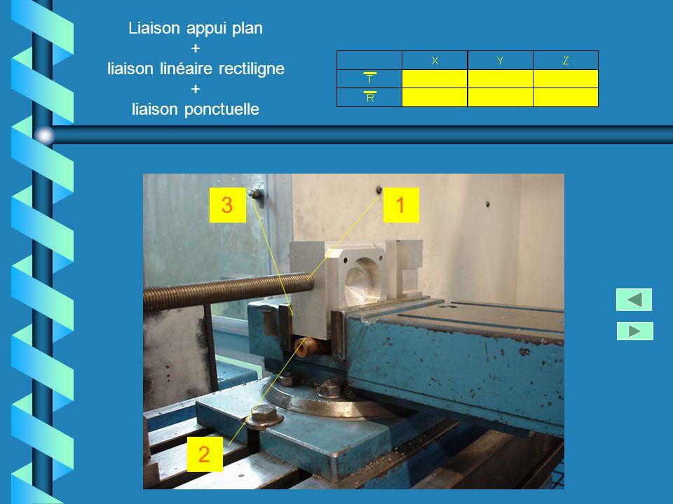 Liaison appui plan + liaison linéaire rectiligne + liaison ponctuelle 2 13