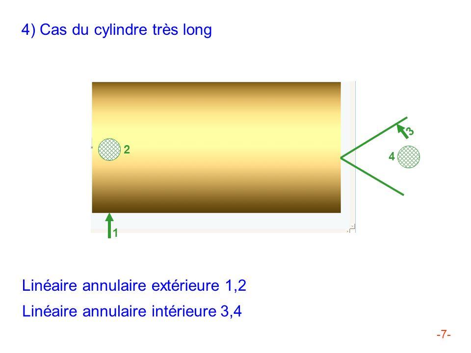-7- 4) Cas du cylindre très long Linéaire annulaire extérieure 1,2 Linéaire annulaire intérieure 3,4 3 4 1 2