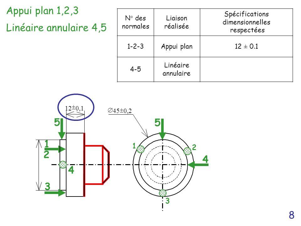 8 5 1 2 Appui plan 1,2,3 12 0,1 45 0, 2 4 1 3 2 5 4 3 N° des normales Liaison réalisée Spécifications dimensionnelles respectées 1-2-3Appui plan12 ± 0