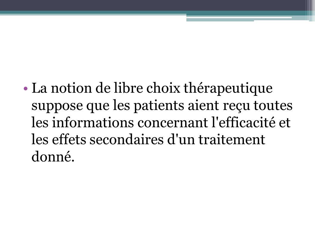 La notion de libre choix thérapeutique suppose que les patients aient reçu toutes les informations concernant l'efficacité et les effets secondaires d