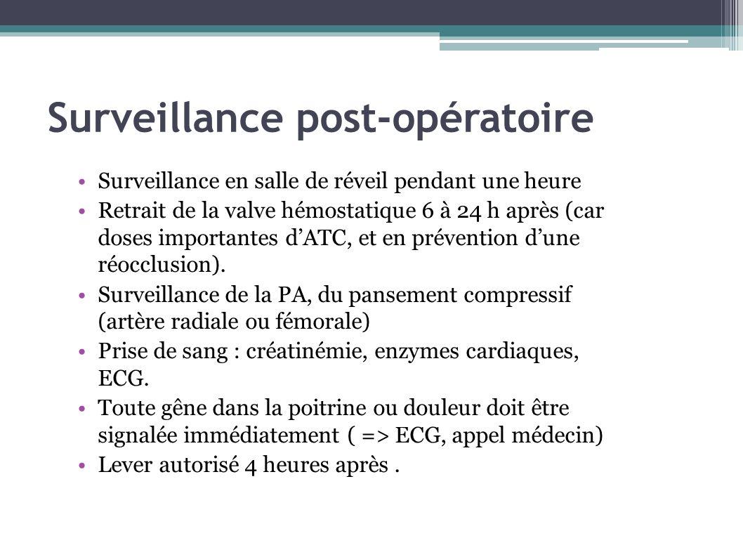 Surveillance post-opératoire Surveillance en salle de réveil pendant une heure Retrait de la valve hémostatique 6 à 24 h après (car doses importantes