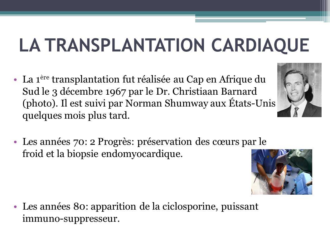 LA TRANSPLANTATION CARDIAQUE La 1 ère transplantation fut réalisée au Cap en Afrique du Sud le 3 décembre 1967 par le Dr. Christiaan Barnard (photo).