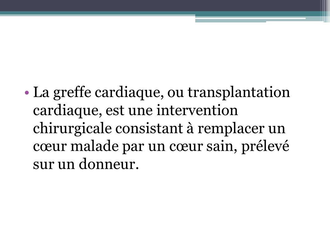 La greffe cardiaque, ou transplantation cardiaque, est une intervention chirurgicale consistant à remplacer un cœur malade par un cœur sain, prélevé s