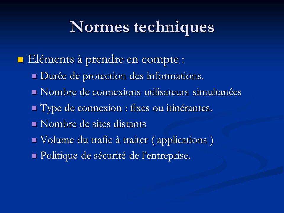 Normes techniques Eléments à prendre en compte : Eléments à prendre en compte : Durée de protection des informations. Durée de protection des informat