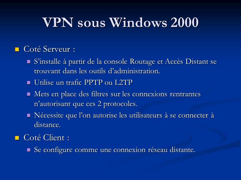 VPN sous Windows 2000 Coté Serveur : Coté Serveur : Sinstalle à partir de la console Routage et Accès Distant se trouvant dans les outils dadministrat