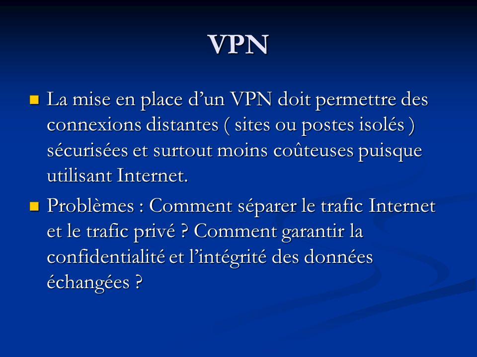 VPN La mise en place dun VPN doit permettre des connexions distantes ( sites ou postes isolés ) sécurisées et surtout moins coûteuses puisque utilisan