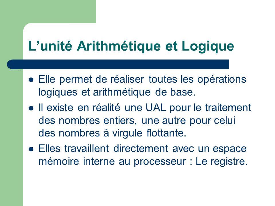 Lunité Arithmétique et Logique Elle permet de réaliser toutes les opérations logiques et arithmétique de base. Il existe en réalité une UAL pour le tr