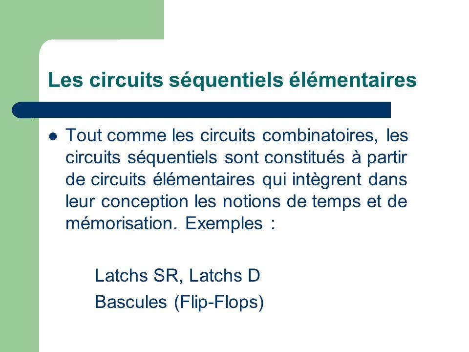 Les circuits séquentiels élémentaires Tout comme les circuits combinatoires, les circuits séquentiels sont constitués à partir de circuits élémentaire