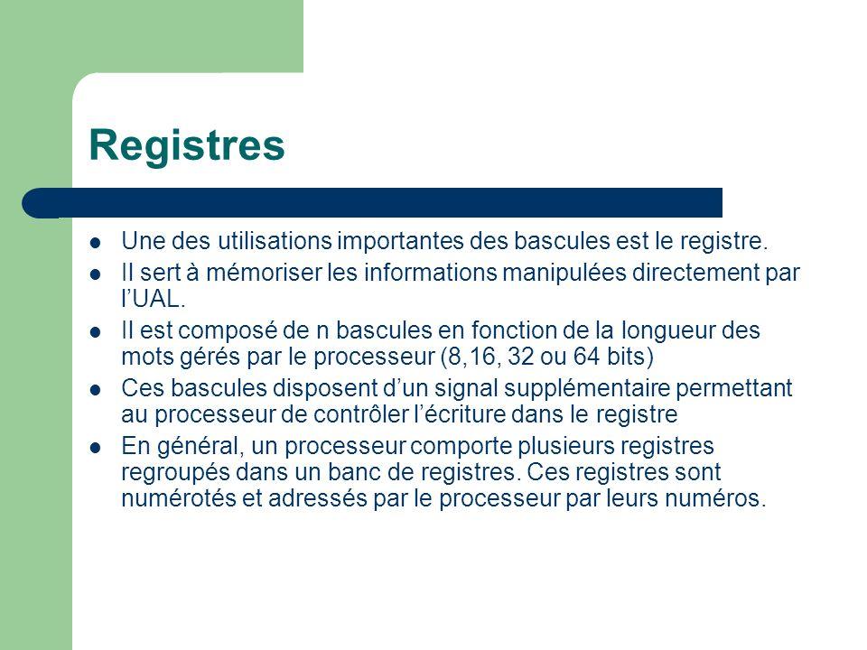 Registres Une des utilisations importantes des bascules est le registre. Il sert à mémoriser les informations manipulées directement par lUAL. Il est
