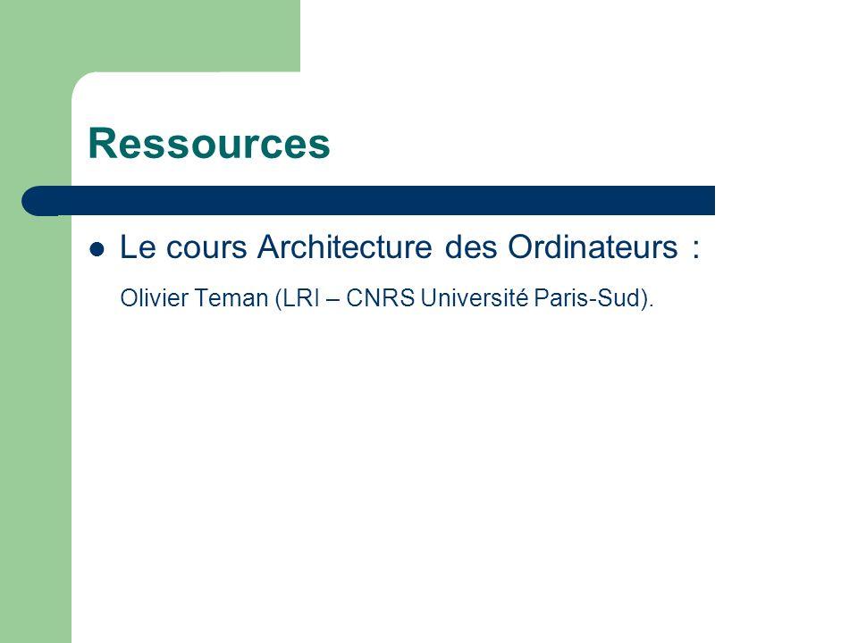 Ressources Le cours Architecture des Ordinateurs : Olivier Teman (LRI – CNRS Université Paris-Sud).