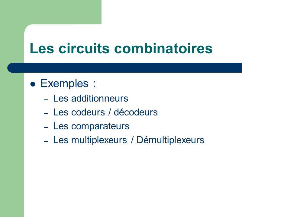 Les circuits combinatoires Exemples : – Les additionneurs – Les codeurs / décodeurs – Les comparateurs – Les multiplexeurs / Démultiplexeurs