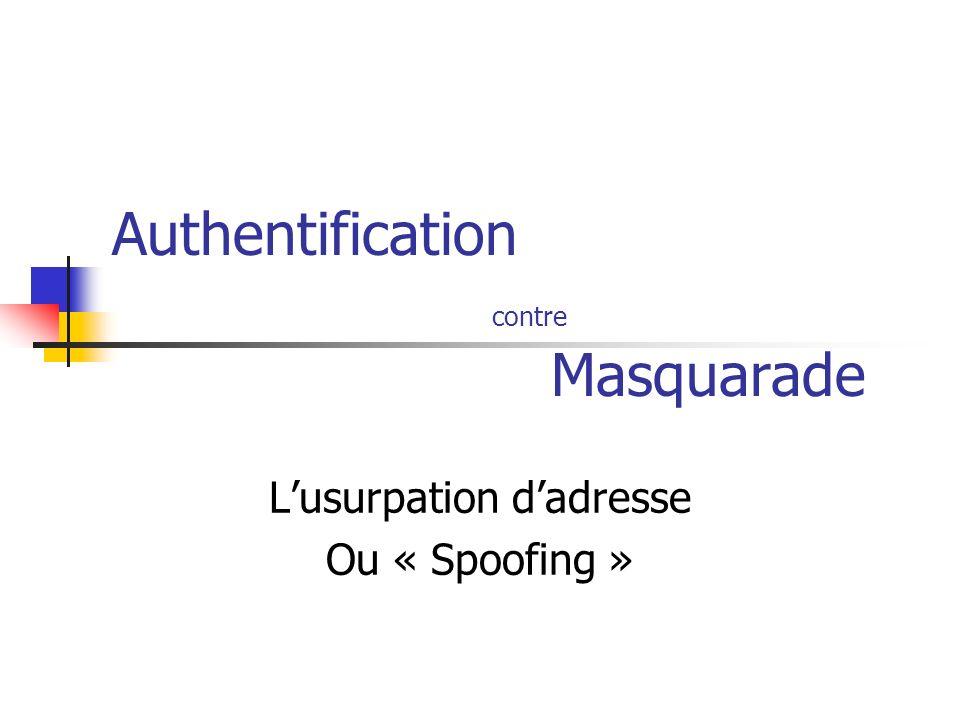 Attaques par usurpation MAC Spoofing ARP Spoofing IP Spoofing DNS Spoofing Usurpation de Noms de machines