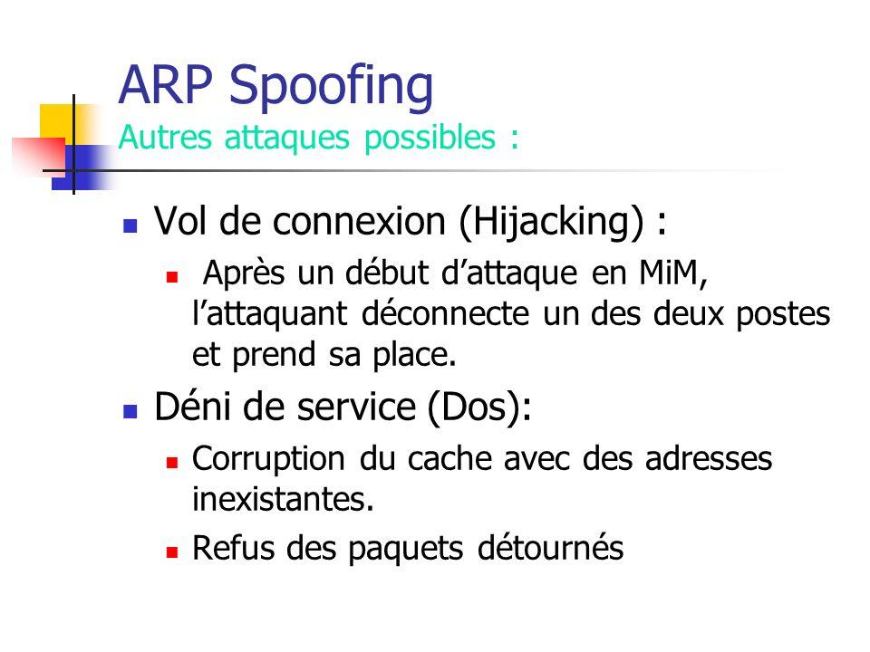 ARP Spoofing Autres attaques possibles : Vol de connexion (Hijacking) : Après un début dattaque en MiM, lattaquant déconnecte un des deux postes et pr