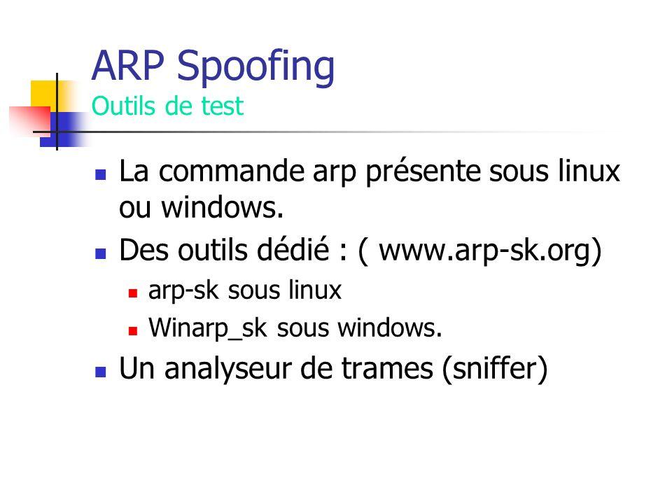 ARP Spoofing Outils de test La commande arp présente sous linux ou windows. Des outils dédié : ( www.arp-sk.org) arp-sk sous linux Winarp_sk sous wind