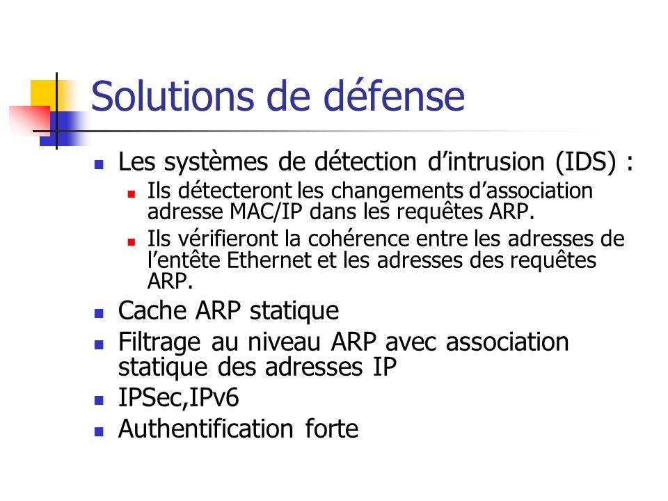 Solutions de défense Les systèmes de détection dintrusion (IDS) : Ils détecteront les changements dassociation adresse MAC/IP dans les requêtes ARP. I