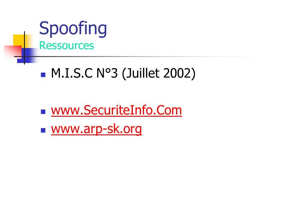 Spoofing Ressources M.I.S.C N°3 (Juillet 2002) www.SecuriteInfo.Com www.arp-sk.org
