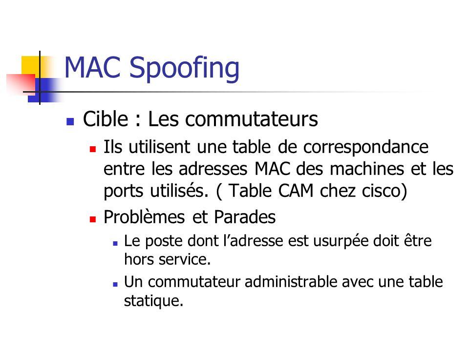 MAC Spoofing Cible : Les commutateurs Ils utilisent une table de correspondance entre les adresses MAC des machines et les ports utilisés. ( Table CAM