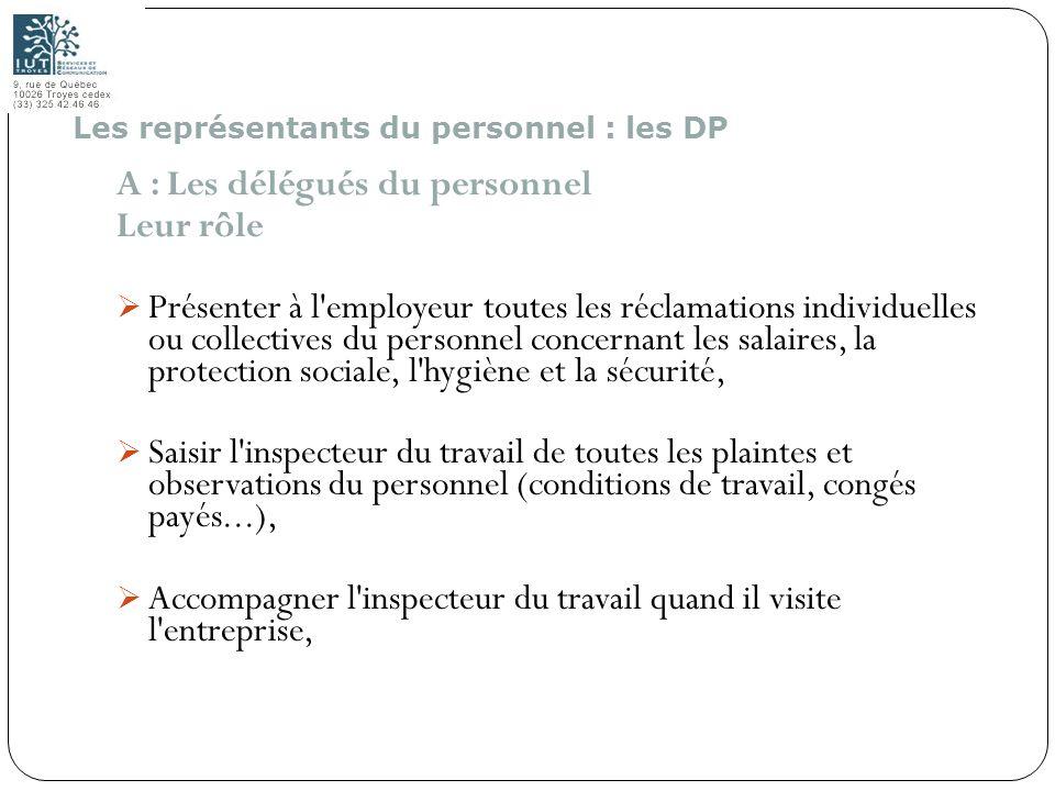 136 A : Les délégués du personnel Leur rôle Présenter à l'employeur toutes les réclamations individuelles ou collectives du personnel concernant les s