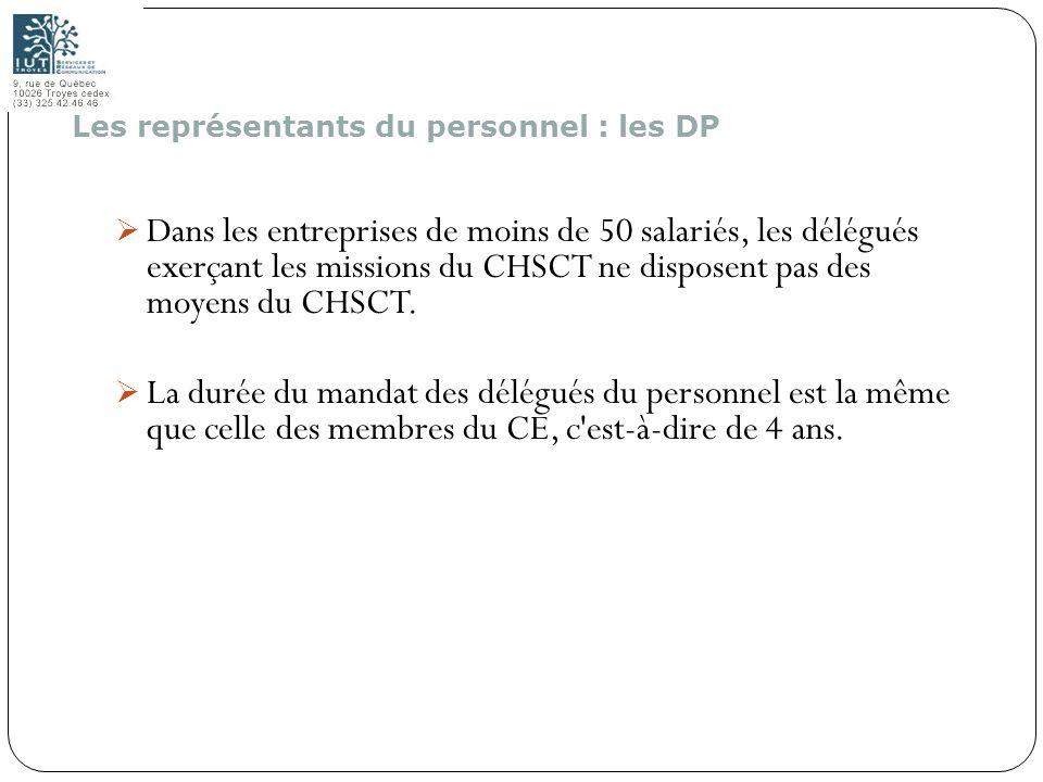 145 Dans les entreprises de moins de 50 salariés, les délégués exerçant les missions du CHSCT ne disposent pas des moyens du CHSCT. La durée du mandat