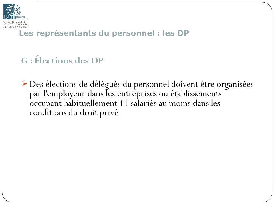 146 G : Élections des DP Des élections de délégués du personnel doivent être organisées par l'employeur dans les entreprises ou établissements occupan
