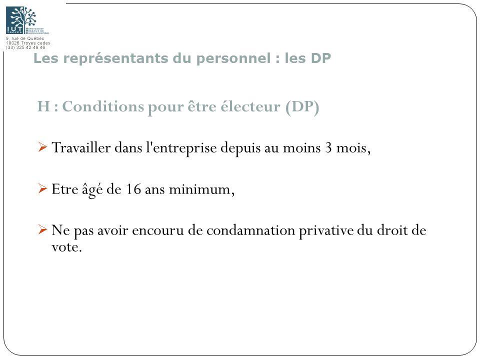 147 H : Conditions pour être électeur (DP) Travailler dans l'entreprise depuis au moins 3 mois, Etre âgé de 16 ans minimum, Ne pas avoir encouru de co