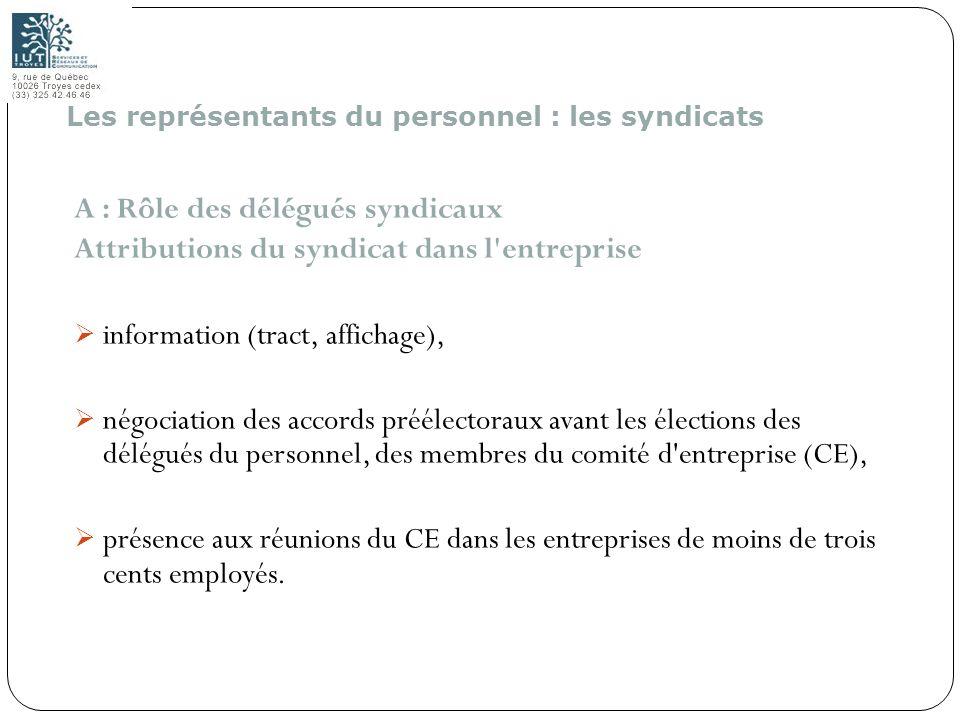 153 A : Rôle des délégués syndicaux Attributions du syndicat dans l'entreprise information (tract, affichage), négociation des accords préélectoraux a
