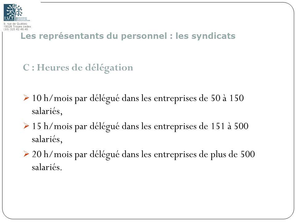 156 C : Heures de délégation 10 h/mois par délégué dans les entreprises de 50 à 150 salariés, 15 h/mois par délégué dans les entreprises de 151 à 500
