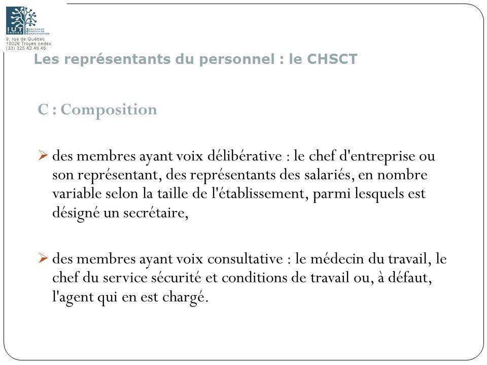 173 C : Composition des membres ayant voix délibérative : le chef d'entreprise ou son représentant, des représentants des salariés, en nombre variable