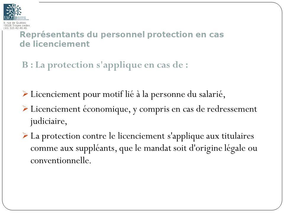 178 B : La protection s'applique en cas de : Licenciement pour motif lié à la personne du salarié, Licenciement économique, y compris en cas de redres