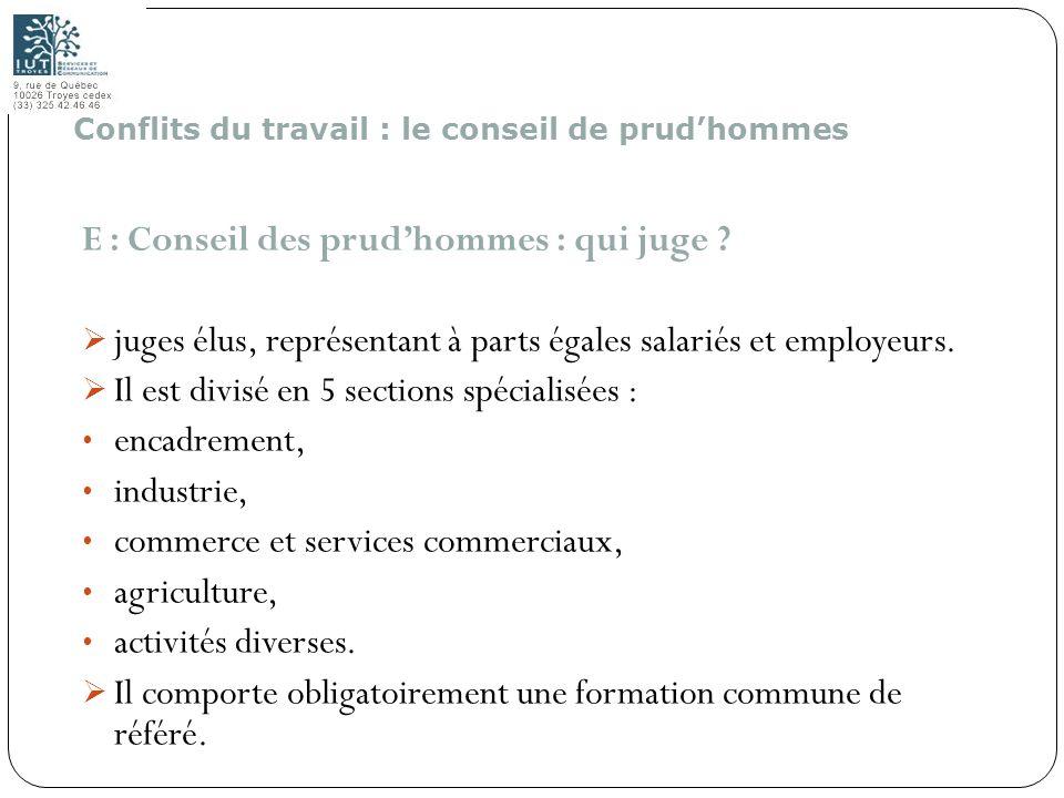 184 E : Conseil des prudhommes : qui juge ? juges élus, représentant à parts égales salariés et employeurs. Il est divisé en 5 sections spécialisées :