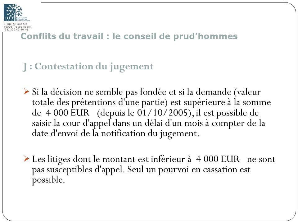 191 J : Contestation du jugement Si la décision ne semble pas fondée et si la demande (valeur totale des prétentions d'une partie) est supérieure à la