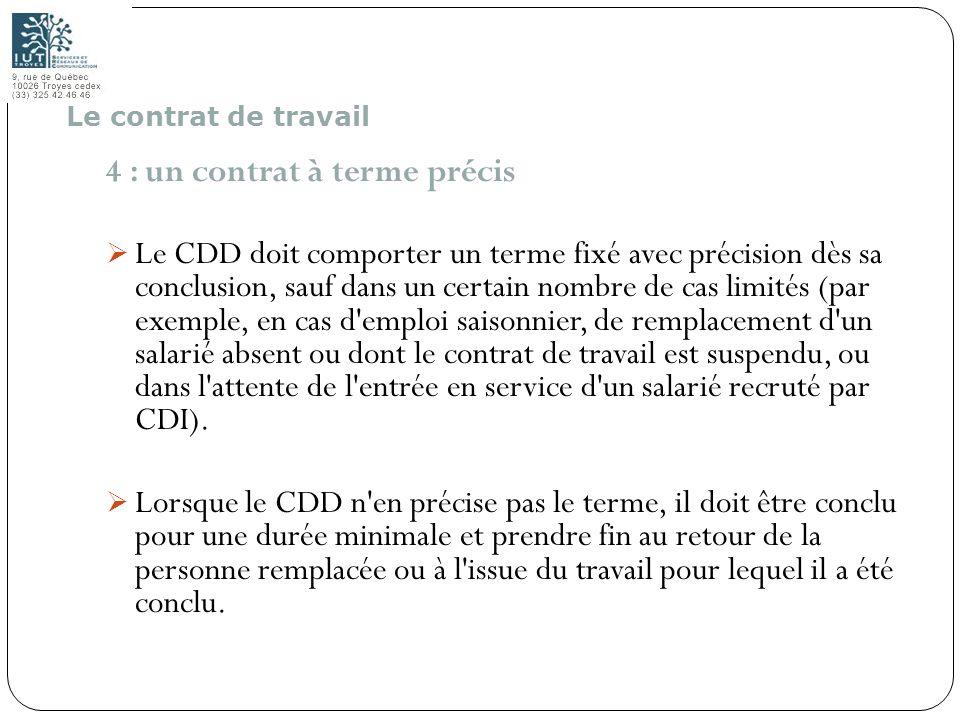 30 4 : un contrat à terme précis Le CDD doit comporter un terme fixé avec précision dès sa conclusion, sauf dans un certain nombre de cas limités (par
