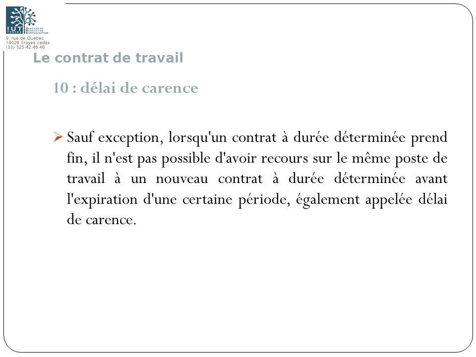 36 10 : délai de carence Sauf exception, lorsqu'un contrat à durée déterminée prend fin, il n'est pas possible d'avoir recours sur le même poste de tr