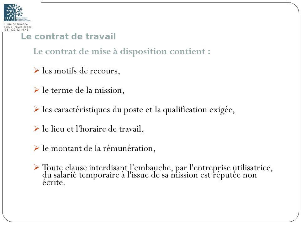 39 Le contrat de mise à disposition contient : les motifs de recours, le terme de la mission, les caractéristiques du poste et la qualification exigée