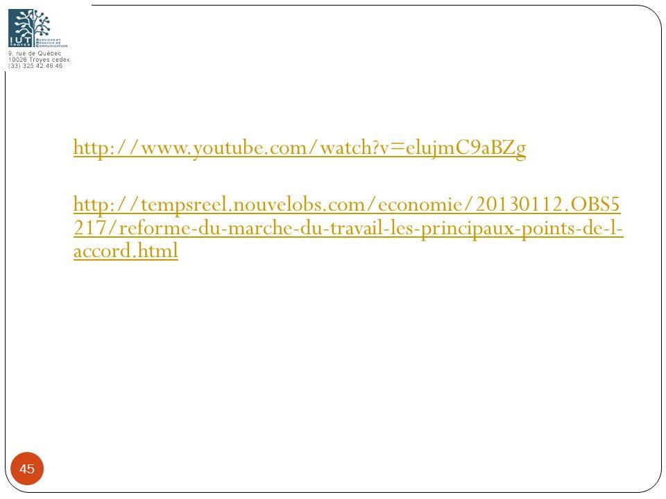 http://www.youtube.com/watch?v=elujmC9aBZg http://tempsreel.nouvelobs.com/economie/20130112.OBS5 217/reforme-du-marche-du-travail-les-principaux-point