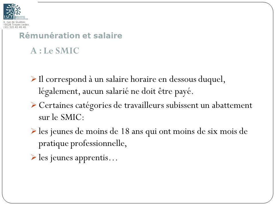 65 A : Le SMIC Il correspond à un salaire horaire en dessous duquel, légalement, aucun salarié ne doit être payé. Certaines catégories de travailleurs