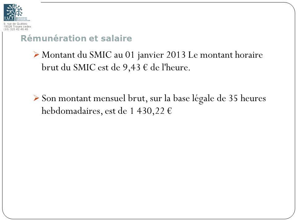 66 Montant du SMIC au 01 janvier 2013 Le montant horaire brut du SMIC est de 9,43 de l'heure. Son montant mensuel brut, sur la base légale de 35 heure