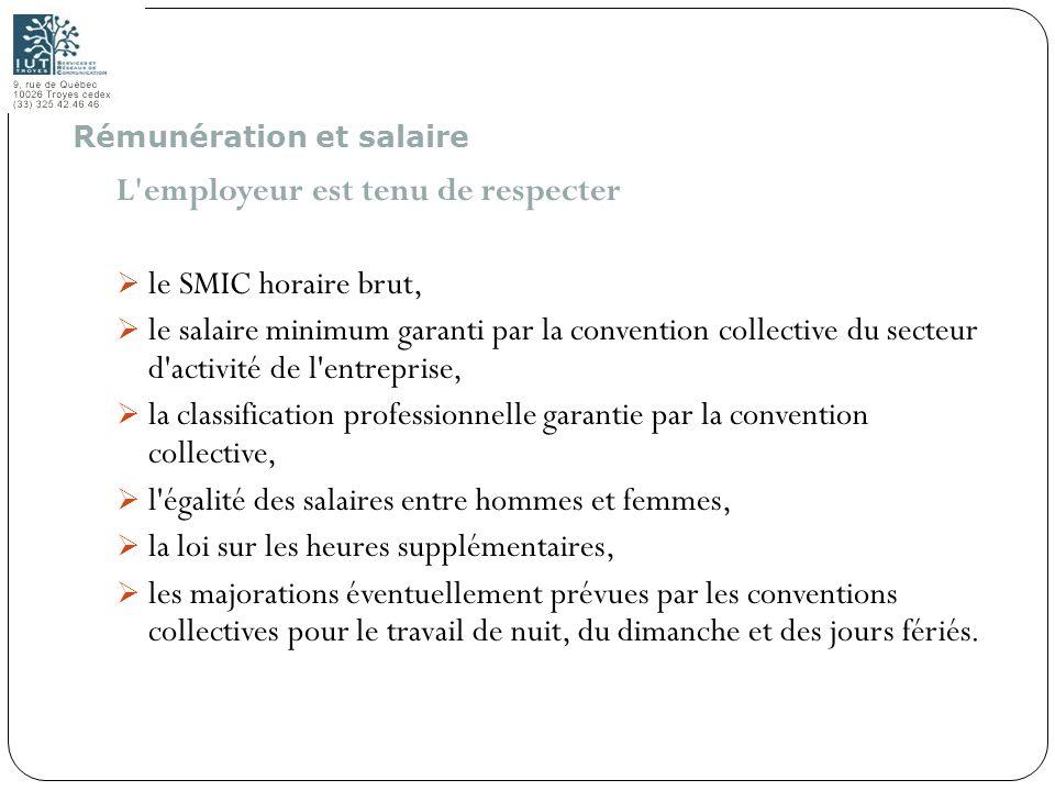 68 L'employeur est tenu de respecter le SMIC horaire brut, le salaire minimum garanti par la convention collective du secteur d'activité de l'entrepri