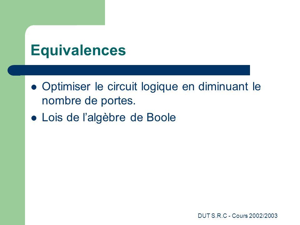 DUT S.R.C - Cours 2002/2003 Equivalences Optimiser le circuit logique en diminuant le nombre de portes. Lois de lalgèbre de Boole