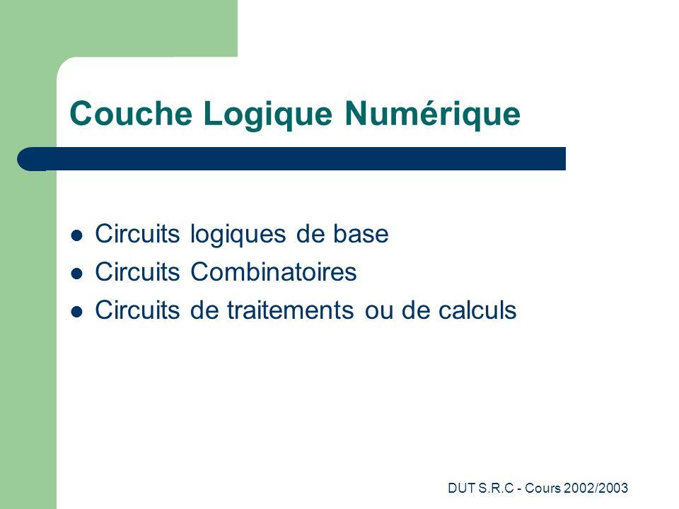 DUT S.R.C - Cours 2002/2003 Couche Logique Numérique Circuits logiques de base Circuits Combinatoires Circuits de traitements ou de calculs