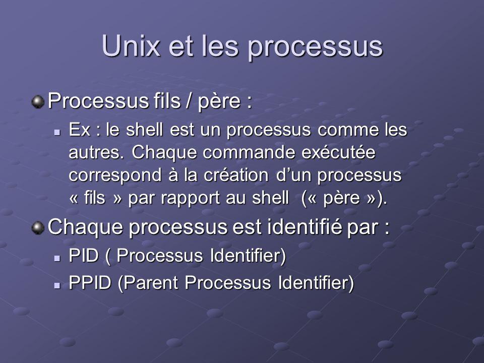 Unix et les processus Processus fils / père : Ex : le shell est un processus comme les autres. Chaque commande exécutée correspond à la création dun p