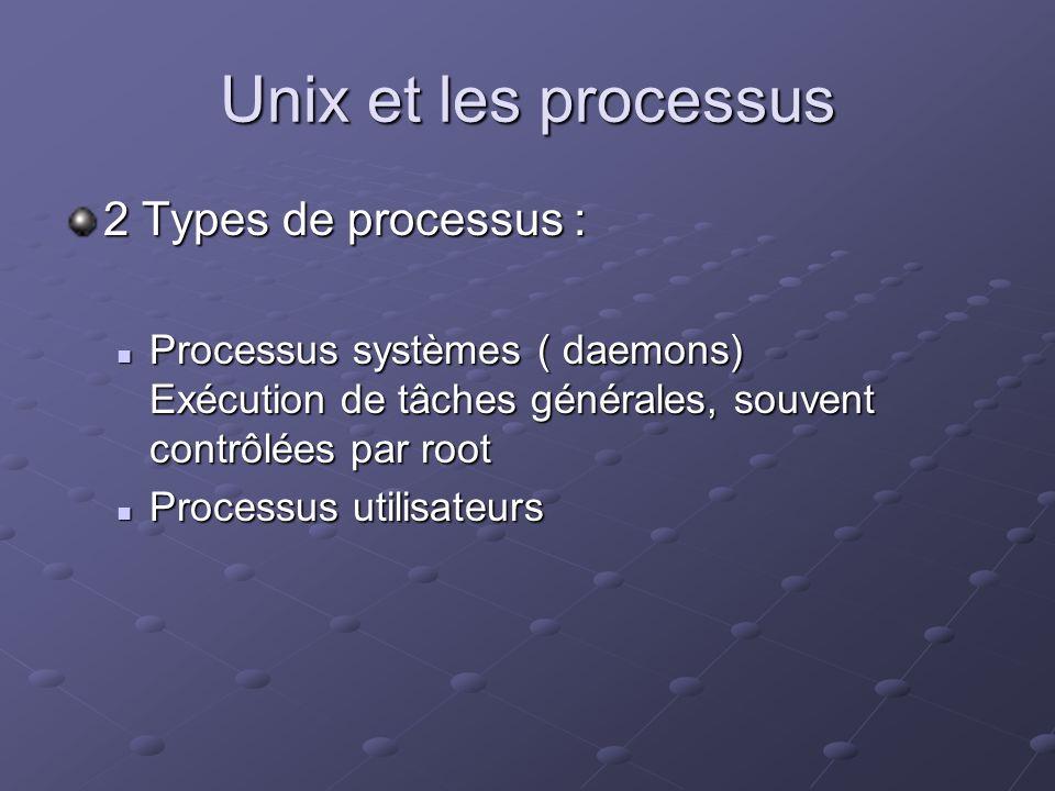 Unix et les processus 2 Types de processus : Processus systèmes ( daemons) Exécution de tâches générales, souvent contrôlées par root Processus systèm