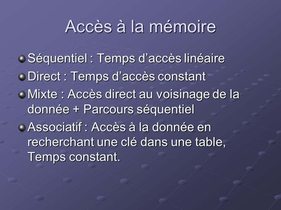 Exemples RAM ( Random Access Memory) Accès Direct (Temps daccès 10 à 70 ns) Accès Direct (Temps daccès 10 à 70 ns) Volatile Volatile Accès Mode Normal / Mode Page Accès Mode Normal / Mode Page ROM ( Read Only Memory) Accès direct Accès direct Non volatile Non volatile Utilisation : Microprogrammes ( BIOS) Utilisation : Microprogrammes ( BIOS) PROM, EPROM, EEPROM, FLASH EEPROM